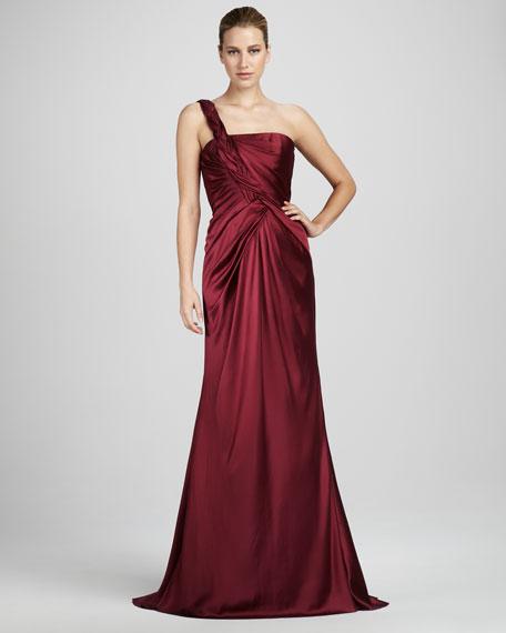 Braid-Strap Satin Gown