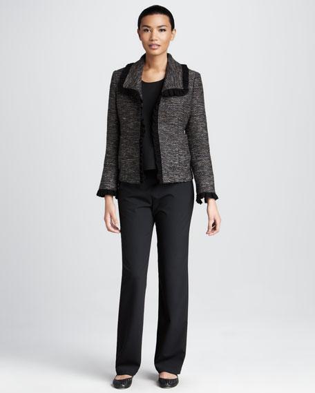 Ruffle-Trim Tweed Jacket, Women's