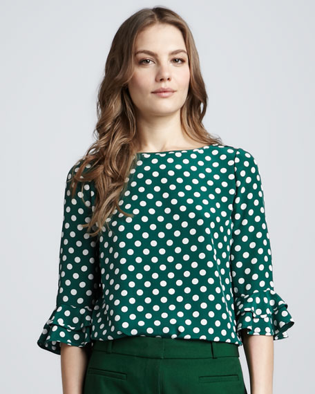 three-quarter-sleeve polka-dot top