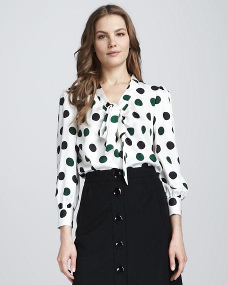 reade bow-neck polka-dot blouse