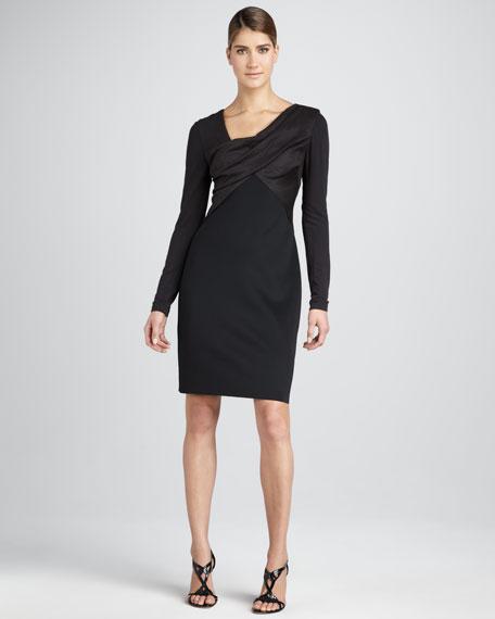 Faux-Suede Long-Sleeve Dress