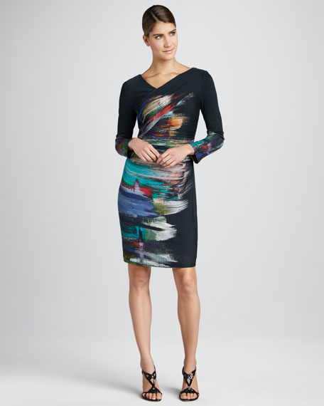 Abstract-Print Long-Sleeve Dress