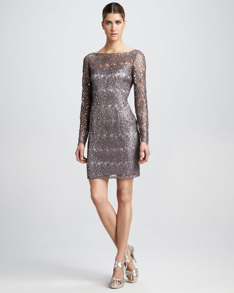 Sequined-Lace Cocktail Dress, Women's