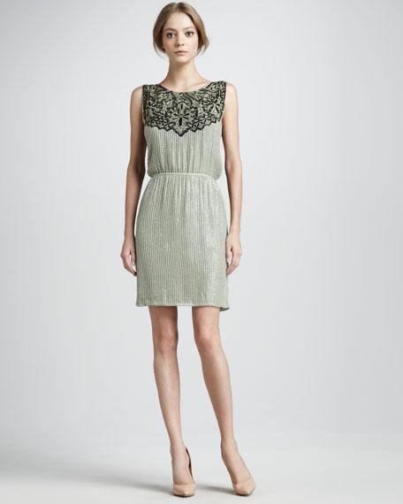 Contrast-Yoke Cocktail Dress