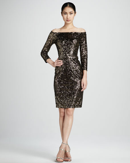 Sequined Off-Shoulder Cocktail Dress