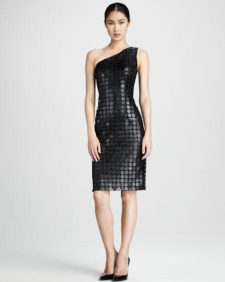 One-Shoulder Dot Cocktail Dress