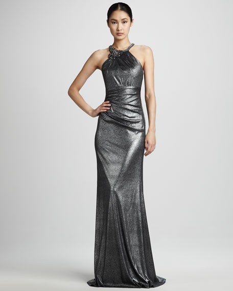 Metallic Halter Gown