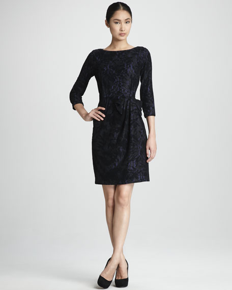 Ruched Lace-Print Dress