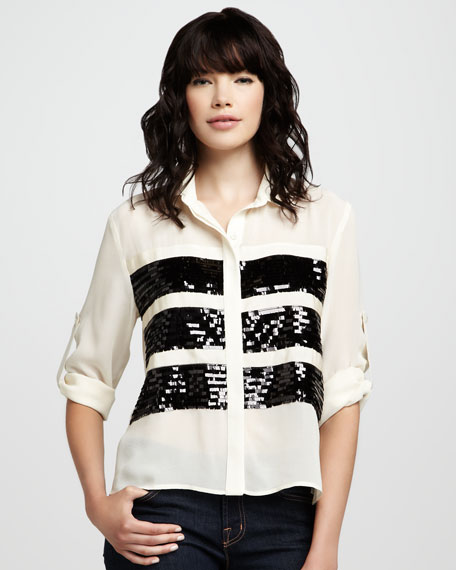 London Sequin-Panel Blouse