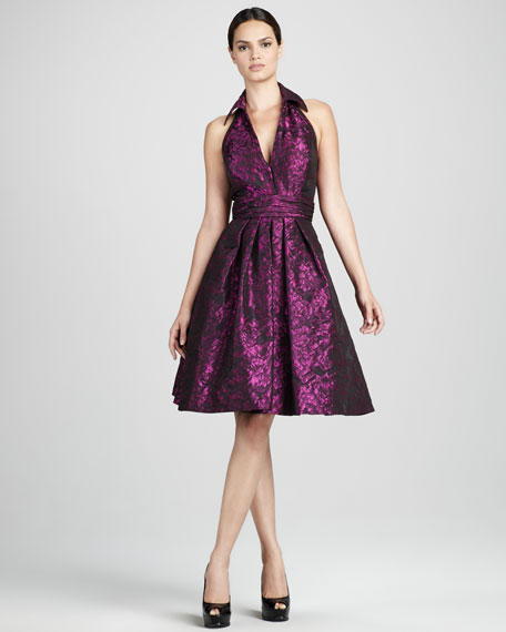 Shimmery Jacquard Cocktail Dress