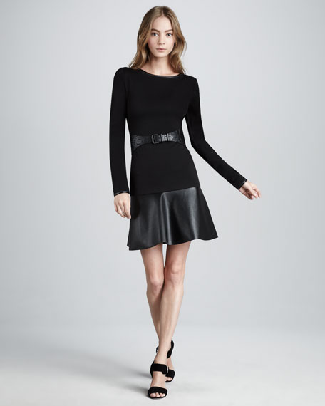 Leather-Skirt Ponte Dress