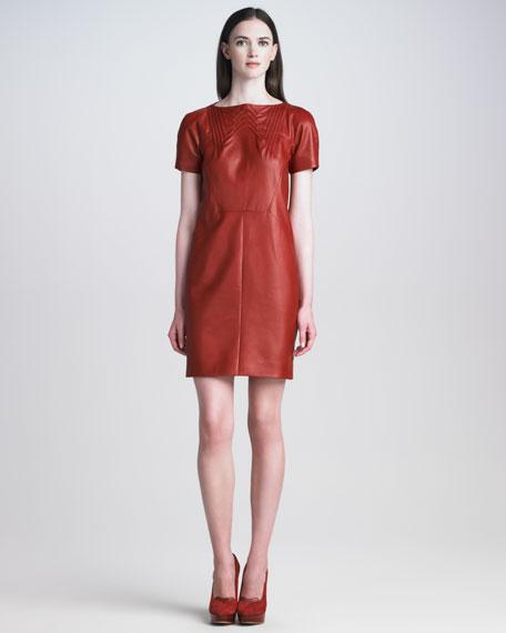Short-Sleeve Leather Dress