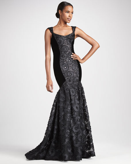 Flared Contour-Panel Gown