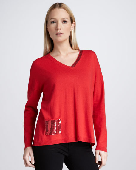 Sequined-Pocket Sweater