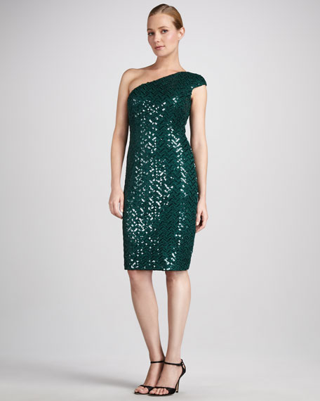 Sequined One-Shoulder Cocktail Dress
