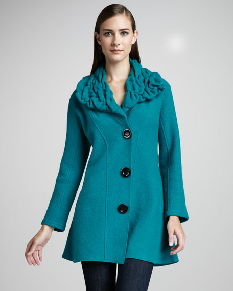 Long Ruched-Collar Jacket