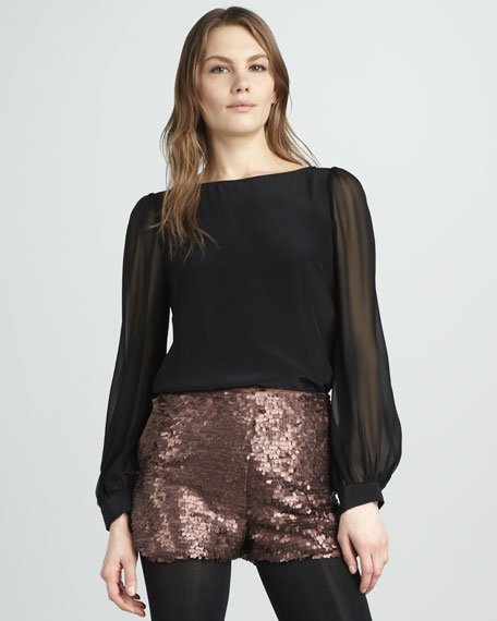 Kamara Sheer-Sleeve Top
