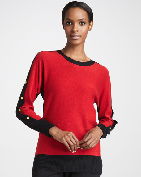 Colorblocked Button-Sleeve Sweater, Petite