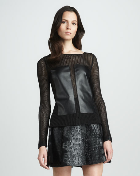 Ana Embossed-Leather Skirt