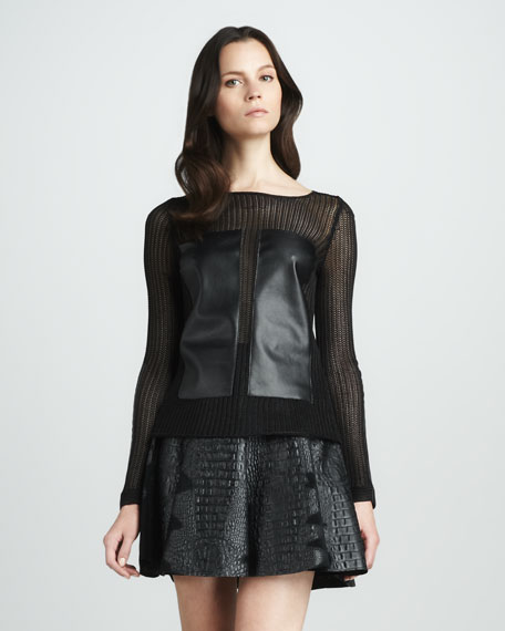 Leila Leather-Panel Sweater
