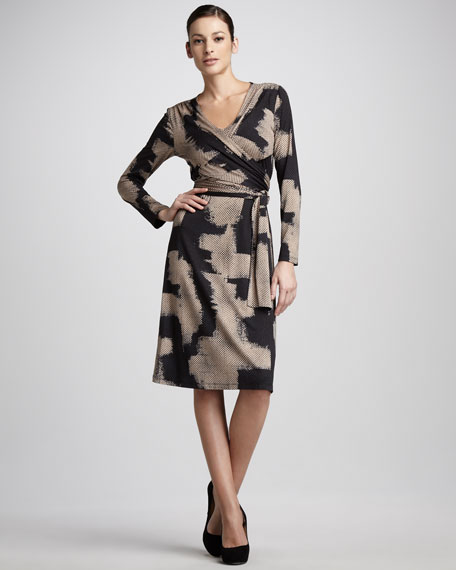 Abstract-Print Wrap Dress