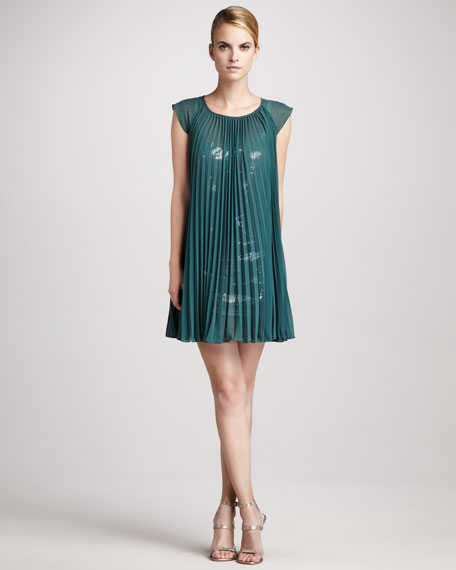 Pleated Sequin-Underlay Dress