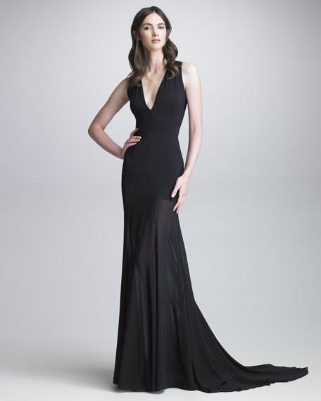Darisa Sheer-Skirt Gown