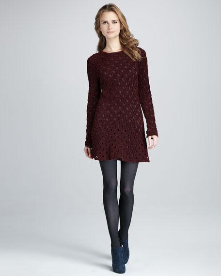 Keify Open-Knit Long-Sleeve Dress