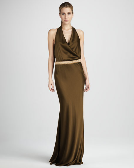 Draped Halter Gown
