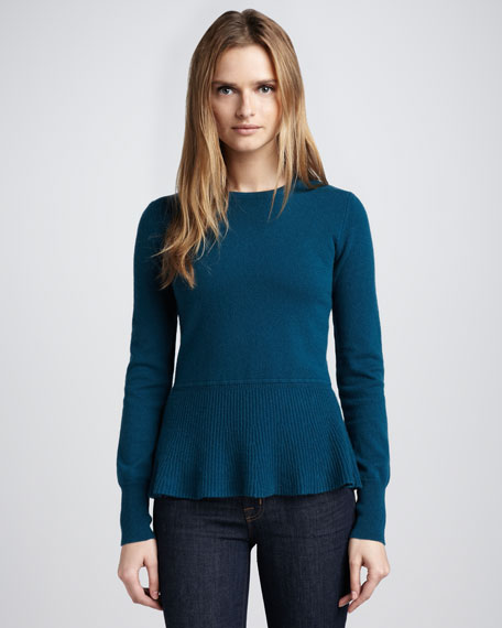 Button-Back Peplum Sweater