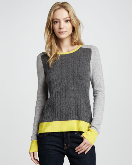 Colorblock Cable Sweater