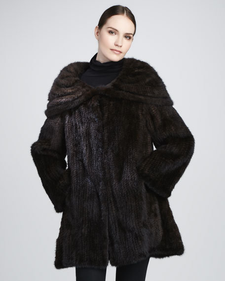 Mink Oversized-Collar Coat