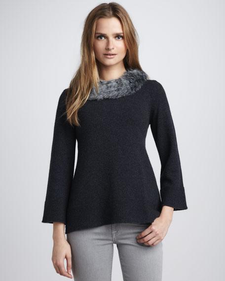 Faux-Fur-Collar Sweater