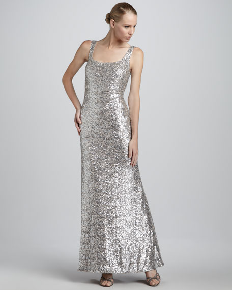 Sequined Scoop-Neck Gown