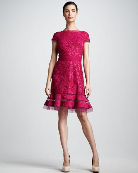 Illusion-Hem Lace Cocktail Dress