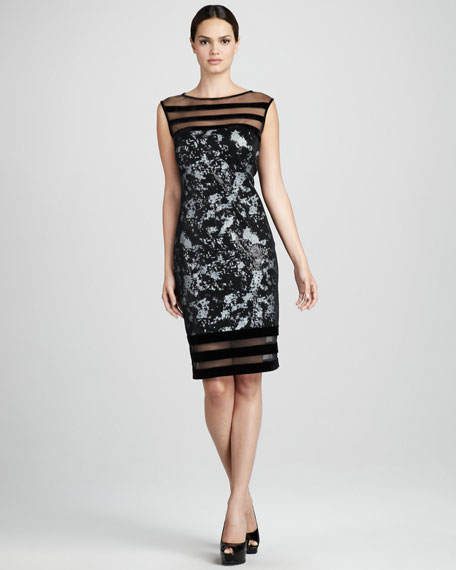 Illusion-Trim Cocktail Dress