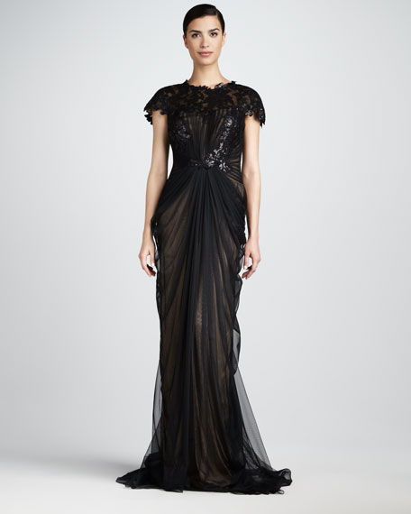 Ruched Lace-Top Gown