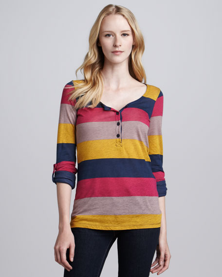 Rugby-Stripe Slub Top