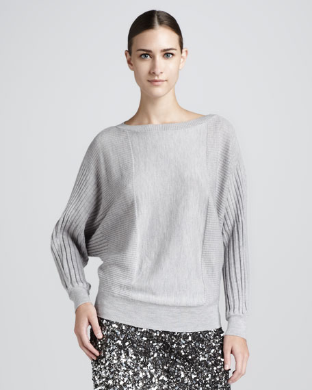 Dolman-Sleeve Wool Sweater