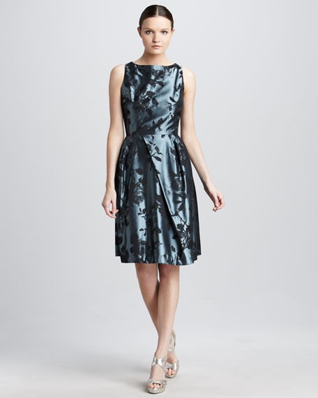 Rose-Print Taffeta Dress
