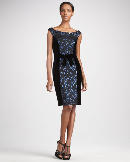 Contour-Panel Jacquard Cocktail Dress