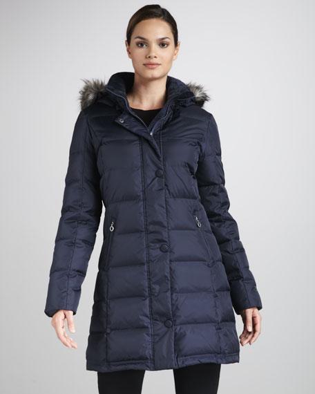 Faux Fur-Trim Puffer Coat