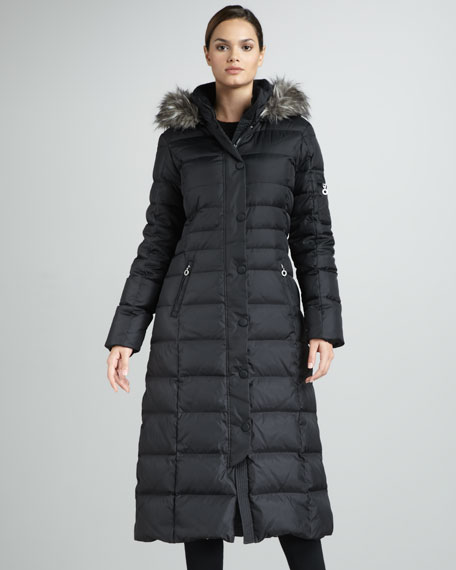 Long Faux Fur-Trim Puffer Coat