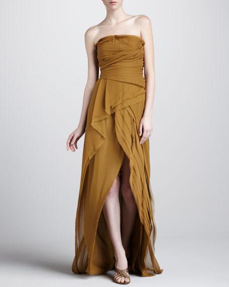 Strapless Tiered Silk Gown
