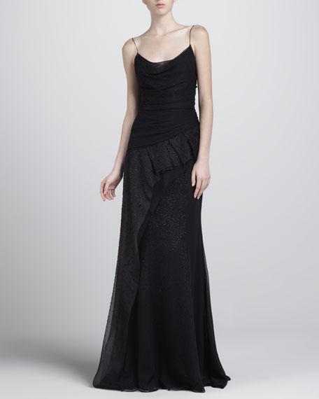 Asymmetric Beaded Gown