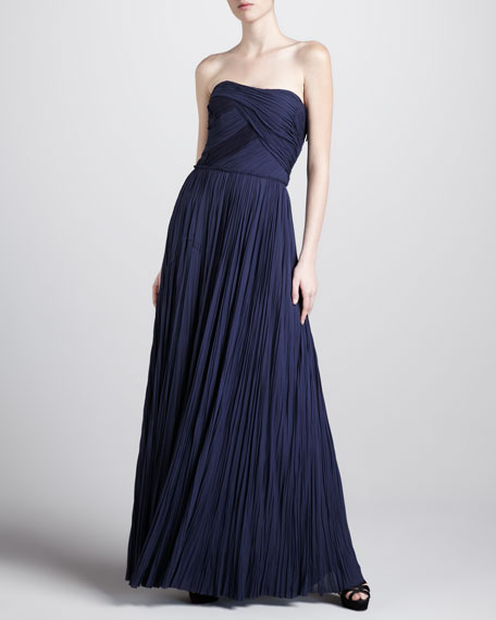 Strapless Pleated Gown