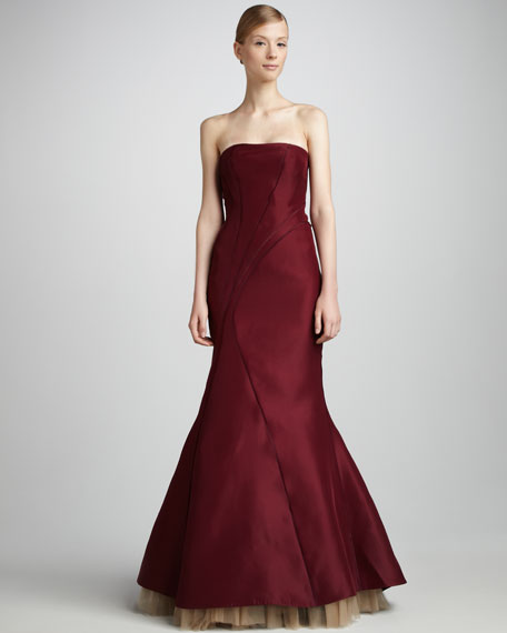 Structured Strapless Gown, Wine Red