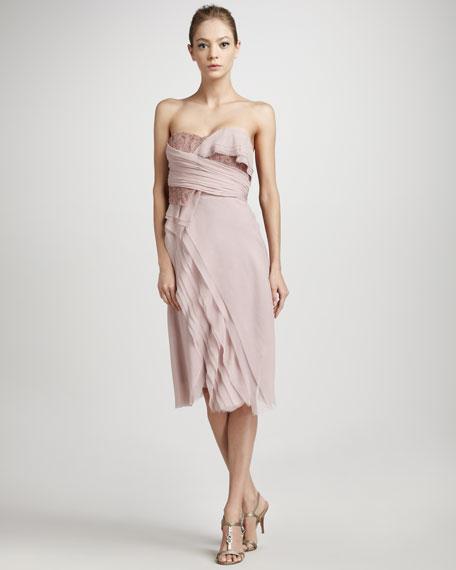 Lace-Detail Wrap Dress, Quartz