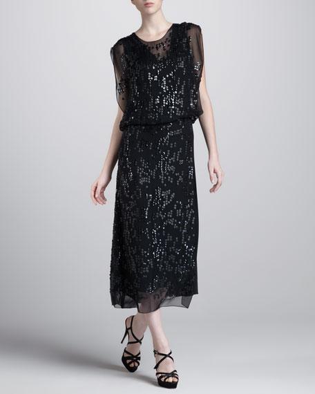 Embroidered Blouson Dress, Black