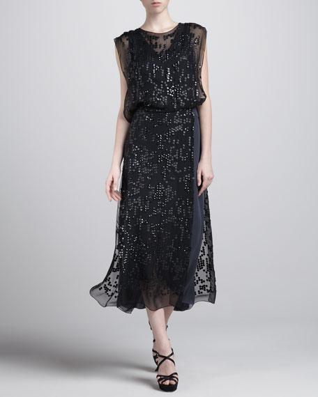 Embroidered Blouson Dress, Slate Blue
